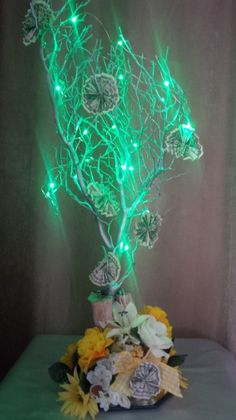 Money Tree Floral Centerpiece with LED Lights. For info visit C&C Custom Creations on Facebook