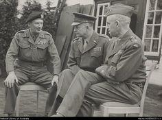 Field Marshal Bernard Montgomery with Dwight D. Eisenhower and General Omar Bradley. http://nla.gov.au/nla.ms-ms5654-0-1x