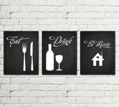 Set of 3 PRINTS Kitchen Printable Poster Illustration Graphic Design Print, Eat…