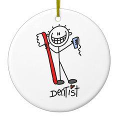 Basic Stick Figure Dentist Ornament
