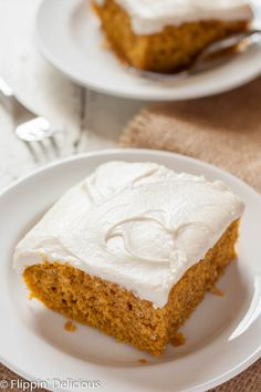 Moist Gluten Free Pumpkin Cake with cream cheese frosting is the ultimate easy fall dessert! Dairy free option. (sub for eggs)
