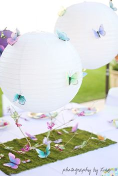Kids garden or tea party decor.  Add pretty little butterflies to the balloons and see your theme come together beautifully.