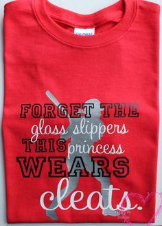 Princess Wears Cleats Softball Shirt Womens, Girls, Teen Girls Softball Princess on Etsy, $15.00