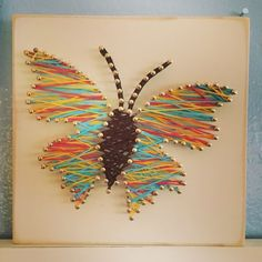 Butterfly string art, multiple color string art.