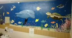 Sealife mural in nursing home bathroom. www.custommurals.co.uk