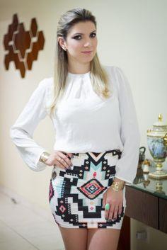 Look Branco + Saia étnica1
