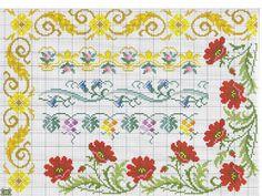 ponto cruz barrados florais flores vermelhas e ramos florais