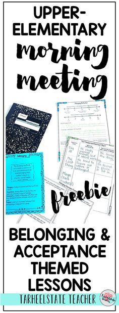 FREE CLASSROOM COMMUNITY Belonging/Accepting Others Lesson Ideas and Journal Pages for morning meeting |  Teaching kindness in the classroom through themes in literature, read alouds, and morning meeting; these Morning Meeting lesson ideas for 3rd grade,