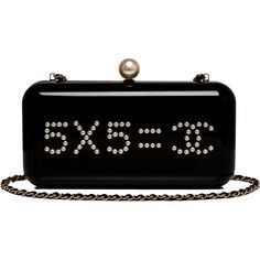 """Pre-Owned Chanel """"Votez Coco"""""""" Evening in the Street Clutch ($15,000) ❤ liked on Polyvore featuring bags, handbags, clutches, chanel, bolsa, black, evening handbags, chanel handbags, evening purse and black leather handbags"""
