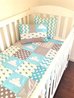 Little Cloud Baby Crib Quilt and two cushion covers  ..made after you order