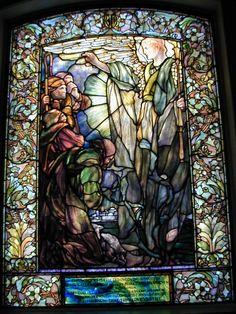 Description: Boston, Massachusetts (MA): Arlington Street Church: Angel Announces Birth of Jesus (Tiffany stained glass memorial window, designed c1898, installed 1900)