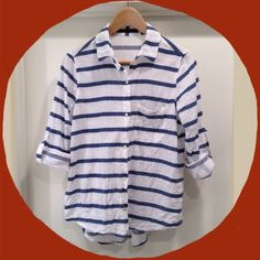 Zara Striped Shirt Zara Striped shirt, flowing cut, worn twice. Great with almost anything ((No trades or pp)) **Price is firm* Covershot c/o @ch1ka. Zara Tops