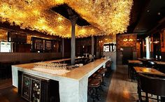 The Boarding House, Chicago Above the bar are hundreds and hundreds of wine glasses