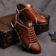 Mens Fashion British Style Lace-up Dress Shoes Formal Shoes – widezee Casual Sneakers, Leather Sneakers, Leather Men, Sneakers Style, Shoes Style, Leather Shoes For Men, Men's Casual Shoes, Men's Style, Classic Sneakers