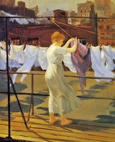John Sloan (American painter, 1871-1951) Sun and Wind on the Roof 1915