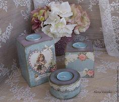 """Купить Набор подсвечников """"Голубое трио"""" - Декупаж, для кабинета, фиолетовый цвет, кабинет, украшение для интерьера"""