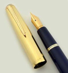 Parker VS Deluxe - Button Filler, Blue w GF Cap, Fine Nib (Excellent, Restored) - Parker VS - Parker | Vintage Fountain Pens - Parker, Sheaffer, Waterman
