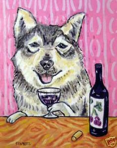 SWEDISH VALLHUND at the WINE bar picture dog art print 8x10 schmetz giclee