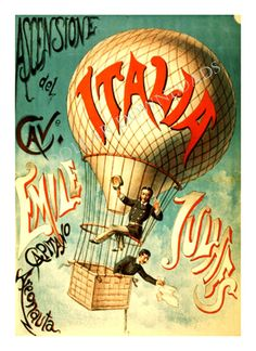 Italy ITALIA Hot Air Balloon Acrobat Vintage by DollarDownloads, $1.00