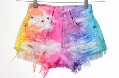 Rainbow Dyed High Waisted Cut-Off Shorts ---- Project. ---- #bottom