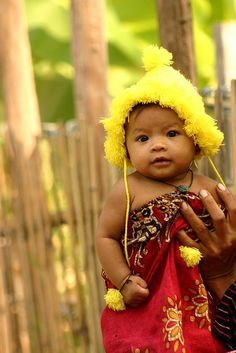 So Sweet: Cambodia  Love the gorgeous little face and the yellow bonnet!
