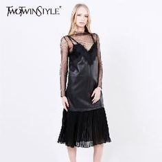 [ 21% OFF ] [Twotwinstyle] 2017 Autumn Pu Leather Splicing Chiffon Pleated V Collar With Lace Straps Dress Women New Casual Clothing