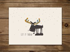 Weihnachten - Illustration - Postkarte - Cute  http://de.dawanda.com/product/72228783-Postkarte-Let-it-snow#product_gallery
