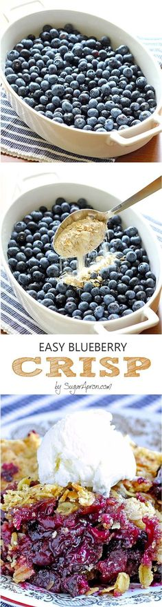 Blueberry Crisp Easy Blueberry Crisp ~ Is there any better way to enjoy blueberries than easy blueberry crisp recipe?Easy Blueberry Crisp ~ Is there any better way to enjoy blueberries than easy blueberry crisp recipe? Dessert Oreo, Coconut Dessert, Low Carb Dessert, Eat Dessert First, Blueberry Crisp, Blueberry Desserts, Just Desserts, Delicious Desserts, Yummy Food