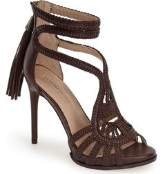 bfd9d29409a4 Villa Braided Brown Strappy Sandal