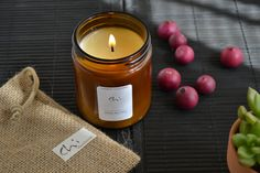 Soy Candle Amber Glass Jar Scented Soy Candle. Primitive Looking Lids. Apothecary jar