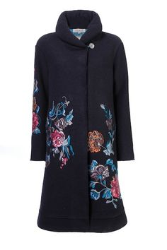 Ivko boiled wool coat with brocade embroidery and gold thread.