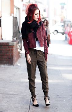 Le Happy wearing cargo pants and Obey Burgundy jacket- this links to her website with all her outfits, I love her style.