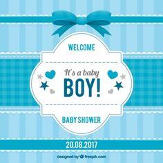 Invitación de rayas de bienvenida del bebé en tonos azules Vector Gratis
