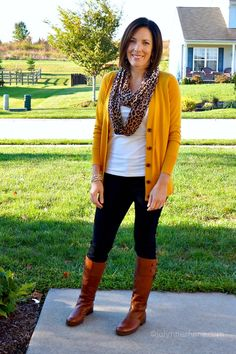 mustard cardi and leopard scarf highlighted on great website musings of a housewife which has styling ideas for all ages - not just moms and housewives