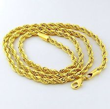 """3mm SOLID ROPE– PVD BONDED 18K GOLD - 18, 24, 32"""" MEN'S & WOMAN'S Chain NECKLACE"""