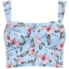TROPICAL LILY BRA TOP (€39) ❤ liked on Polyvore featuring tops, shirts, crop top, blusas, bra top, print crop tops, sexy crop top, sexy shirts and summer shirts