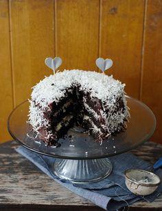 chocolate fudge & coconut cake