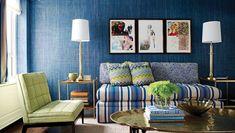 Living & Family Room Photos - Living Room Home Design Blue And Green Living Room, Living Room Small, Blue Rooms, Blue Walls, Blue Green, Living Rooms, Purple Gray, Kelly Green, Bright Green
