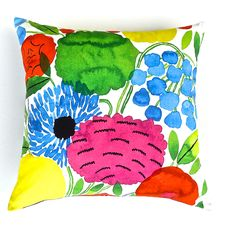 Marimekko Cotton  Cushion Cover in Cobalt Blue, Green, Fuchsia, Red, Yellow