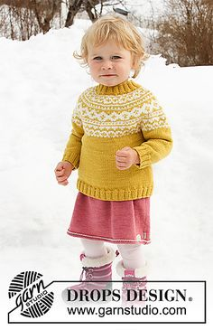 Little missy / DROPS children - free knitting patterns by DROPS design - Knitted sweater for babies and children with round yoke in DROPS Merino Extra Fine. The piece is wo - Baby Knitting Patterns, Jumper Knitting Pattern, Knitting For Kids, Baby Patterns, Free Knitting, Knitting Projects, Crochet Patterns, Drops Design, Pull Jacquard