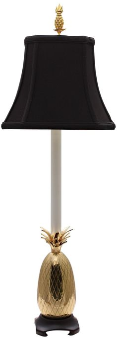 Tropical Brass Black Shade Pineapple Buffet Table Lamp -