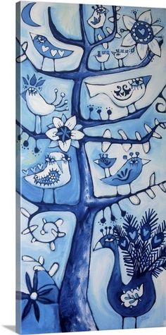 """Bring some whimsy into your space with """"Santosha Tree,"""" by Angel Cantena.  Check it out on GreatBIGCanvas.com"""