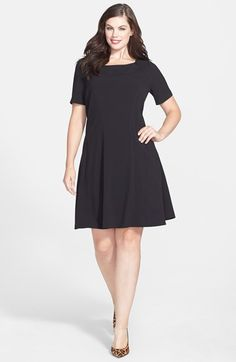 Gabby Skye Crochet Detail V Neck Fit & Flare Dress Plus Size