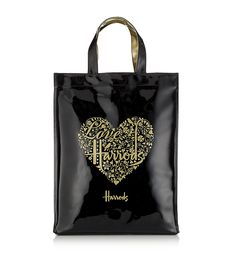 harrods london tote bags | harrods tote shopping bag gold black heart £ 38 95 shopper bag in ...