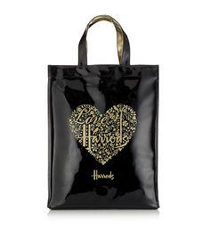 harrods london tote bags | harrods tote shopping bag gold black heart £ 38 95 shopper bag in ...