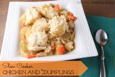 This recipe for Easy Slow Cooker Chicken and Dumplings is the ultimate comfort food after a long day. Made in the slow cooker with two-ingredient dumplings, this chicken and dumpling recipe is easy and delicious. Pork Recipes, Slow Cooker Recipes, Chicken Recipes, Cooking Recipes, Healthy Recipes, Crockpot Recipes, Chicken Soup, Bisquick Recipes, Recipe Chicken