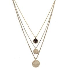 Low Luv by Erin Wasson Coins And Quartz Charms Necklace (1.440 ARS) ❤ liked on Polyvore featuring jewelry, necklaces, accessories, colares, coin jewellery, quartz charm, 14 karat gold jewelry, charm jewelry and coin jewelry