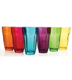 CIRCLEWARE OVERTURE 6 COLORED HIGHBALL GLASSES - 12 OUNCE - Drinkware & Glassware - Kitchen & Dining - Home
