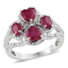Niassa Ruby (Hrt), Diamond Ring in Platinum Overlay Sterling Silver (Size 7) TDiaWt 0.050Cts., TGW 3.33 Cts. | Luxury Jewelry | Promotions | Online Store | Liquidation Channel Site