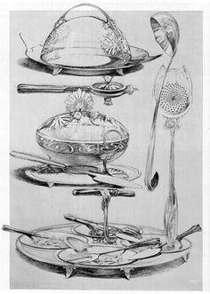 Tableware design, Alphonse Mucha.